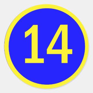 número 14 en un círculo pegatina redonda