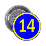 número 14 en un círculo pin
