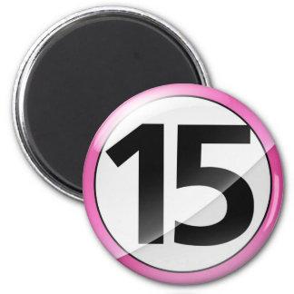 Número 15 Magent rosado Imán Redondo 5 Cm