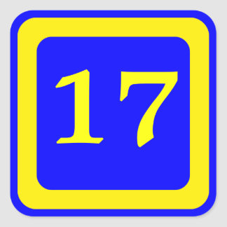número 17 fondo azul marco amarillo calcomanía cuadradas
