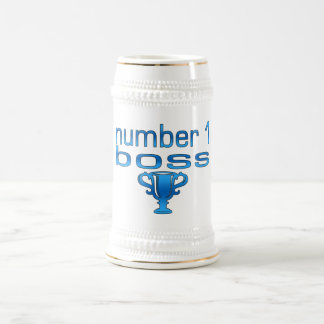 Número 1 Boss en azul Jarra De Cerveza