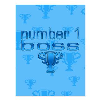 Número 1 Boss en azul Postal