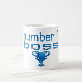 Número 1 Boss en azul Taza