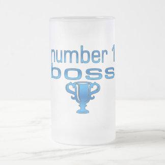 Número 1 Boss en azul Taza De Cristal