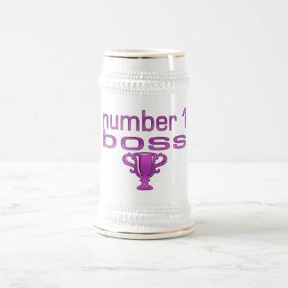 Número 1 Boss en rosa Jarra De Cerveza