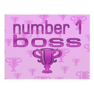 Número 1 Boss en rosa Postal