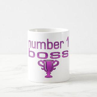 Número 1 Boss en rosa Taza Clásica