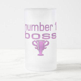 Número 1 Boss en rosa Taza De Cristal