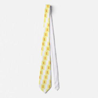 Número 1 en corbatas anaranjadas y amarillas corbata