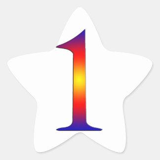 Número 1 pegatina en forma de estrella