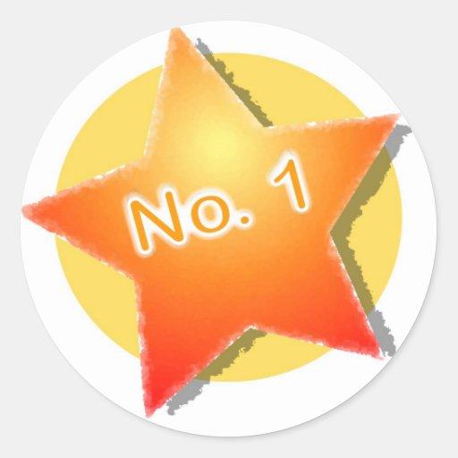 número 1 pegatinas redondas