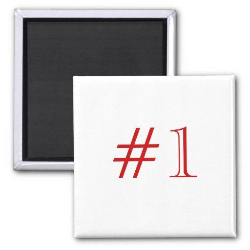 Número 1. rojo y blanco. Personalizado Imán Cuadrado