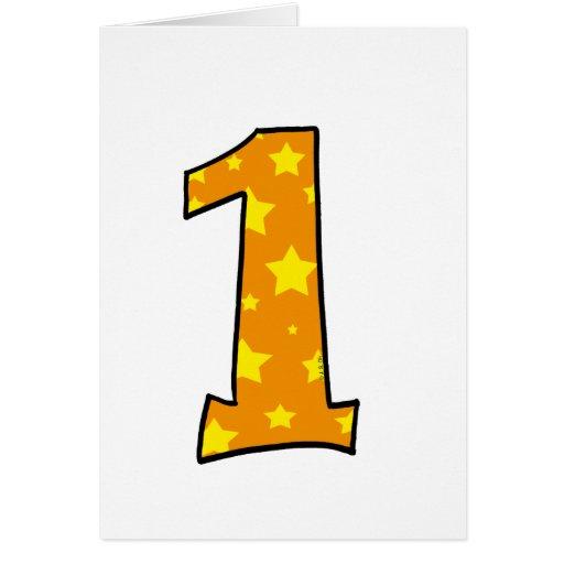 Número 1 tarjeta de felicitación