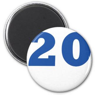 ¡Número 20! Imán Redondo 5 Cm