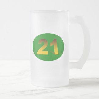 Número 21 taza de cristal