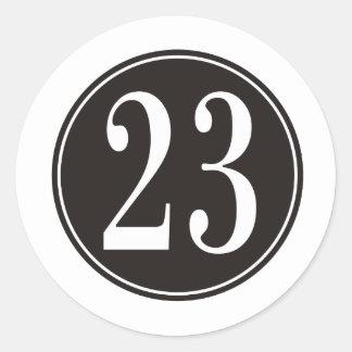 Número 23 - Círculo negro (frente) Pegatina Redonda