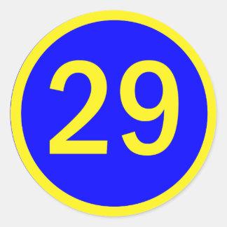número 29 en un círculo pegatina redonda