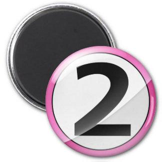 Número 2 Magent rosado Imán Redondo 5 Cm