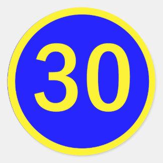 número 30 en un círculo pegatina redonda