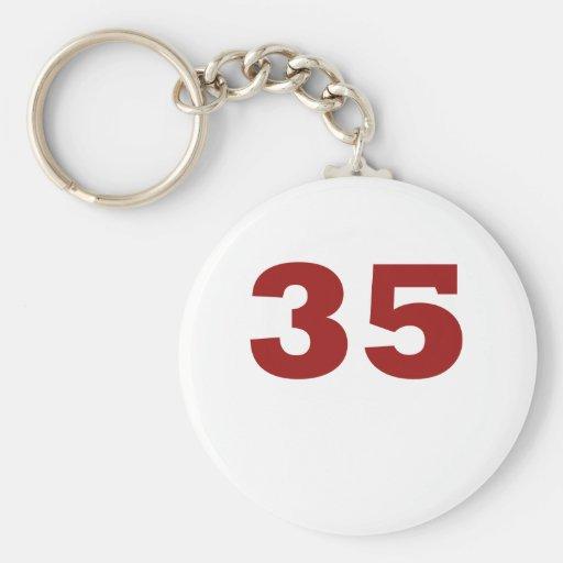 ¡Número 35! Llavero Redondo Tipo Pin