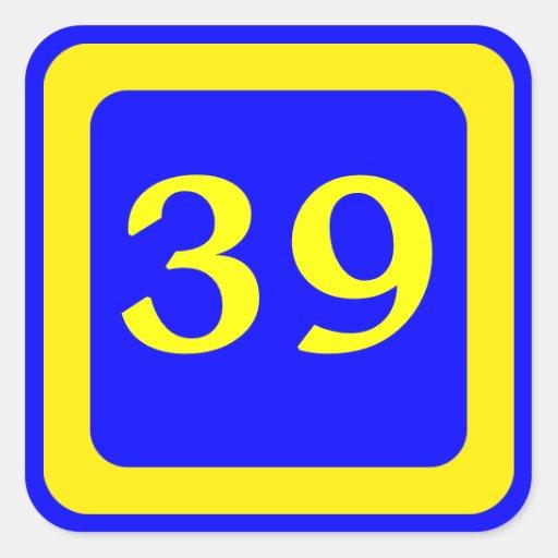 número 39, fondo azul, marco amarillo pegatina cuadradas personalizada