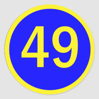 número 49 en un círculo pegatina redonda