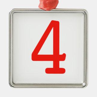 Número 4 ornamento de navidad