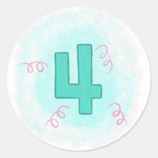 Número 4 en pegatinas de la aguamarina y de los pegatina redonda
