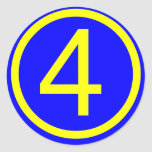 número 4 en un círculo, fondo azul etiqueta