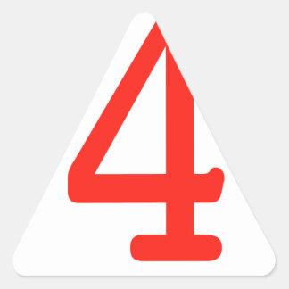 Número 4 pegatina triangular