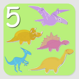 Número 5 cuenta de cinco dinosaurios pegatina cuadrada