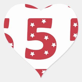 Número 5 - Estrellas del blanco en rojo oscuro Pegatina En Forma De Corazón