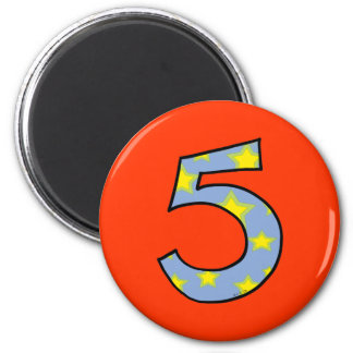 Número 5 imán redondo 5 cm