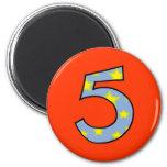 Número 5 imanes para frigoríficos