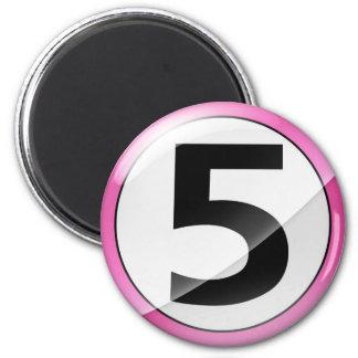Número 5 Magent rosado Imán Redondo 5 Cm