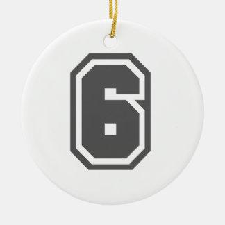 Número 6 adorno redondo de cerámica