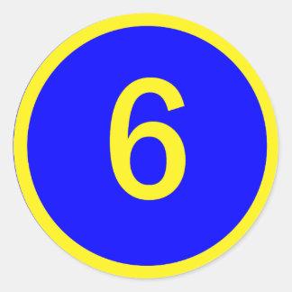 número 6 en un círculo pegatina redonda