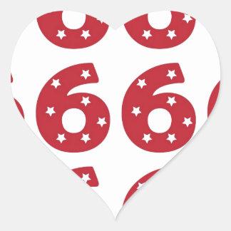 Número 6 - Estrellas del blanco en rojo oscuro Pegatina De Corazón Personalizadas