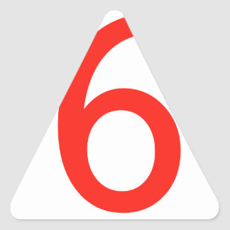 Número 6 calcomanías trianguladas