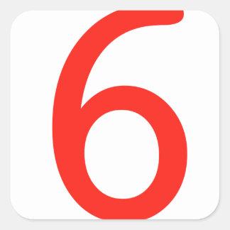 Número 6 colcomanias cuadradass