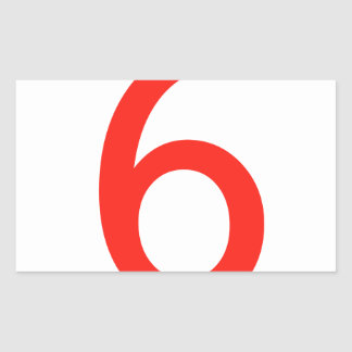 Número 6 rectangular pegatina