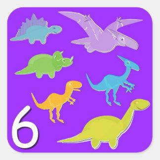 Número 6 seis cuentas de los dinosaurios calcomanía cuadradas personalizadas