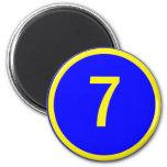 número 7 en un círculo imanes para frigoríficos