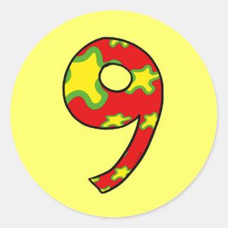 Número 9 pegatinas redondas