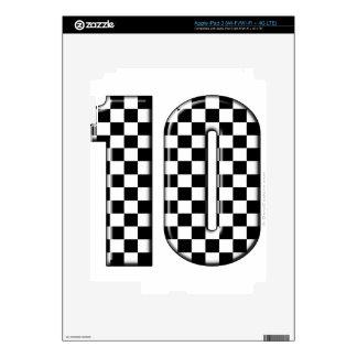 número a cuadros el competir con auto 10 pegatina skin para iPad 3