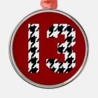 Número afortunado 13 de Houndstooth Adorno Navideño Redondo De Metal