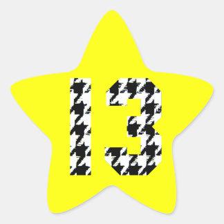 Número afortunado 13 de Houndstooth Calcomanía Forma De Estrella Personalizada
