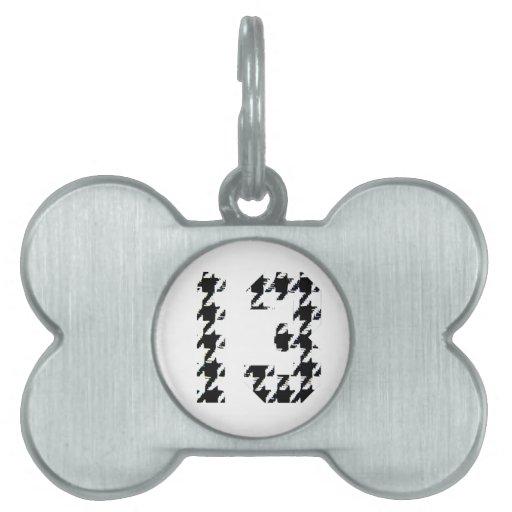 Número afortunado 13 de Houndstooth Placa De Nombre De Mascota