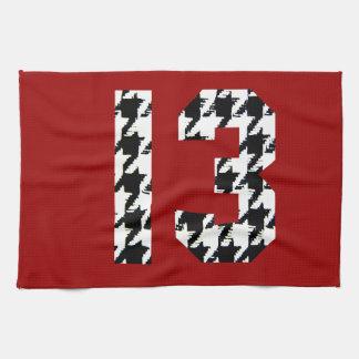Número afortunado 13 de Houndstooth Toalla De Mano