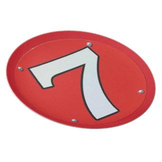 Número afortunado 7 del corredor plato